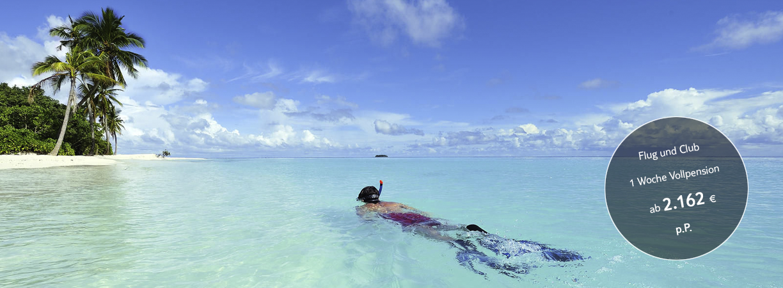 tui, berlin, reisebuero, robinson, maldives, schnorcheln, Angebot, Special, Malediven