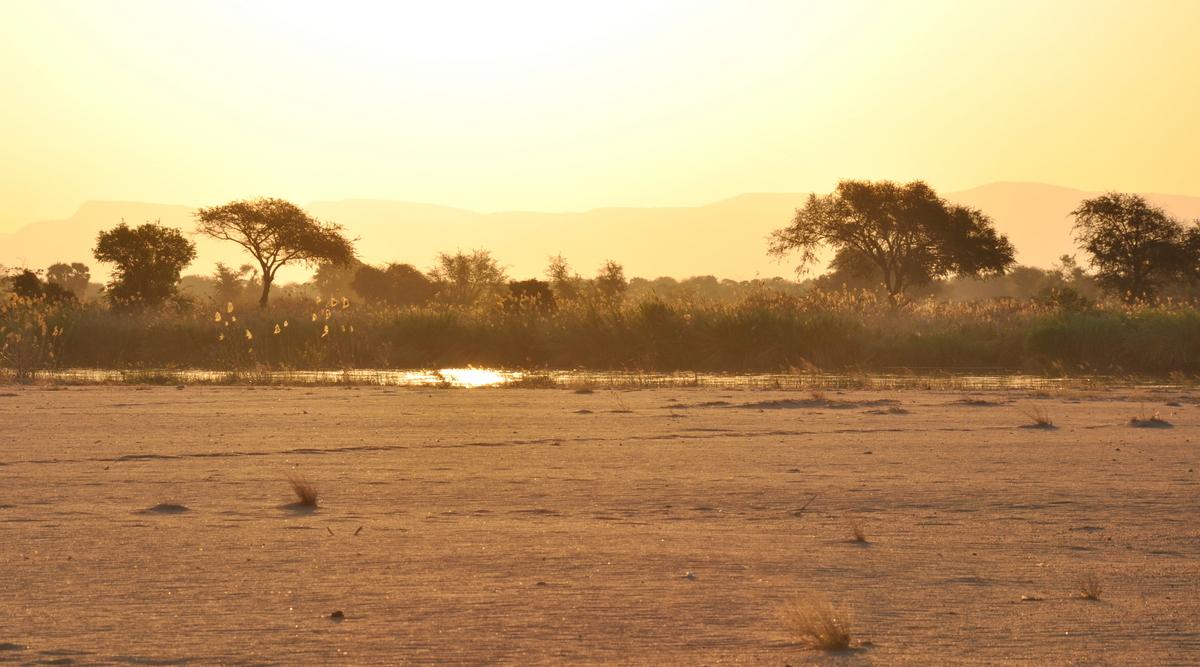 Zwischen Sambia und Simbabwe   mit dem Kanu unterwegs auf dem Sambesi sonne simbabwe safari reisebericht afrika  TUI Berlin Reisebüro Paddeltour Sambesi Abendstimmung