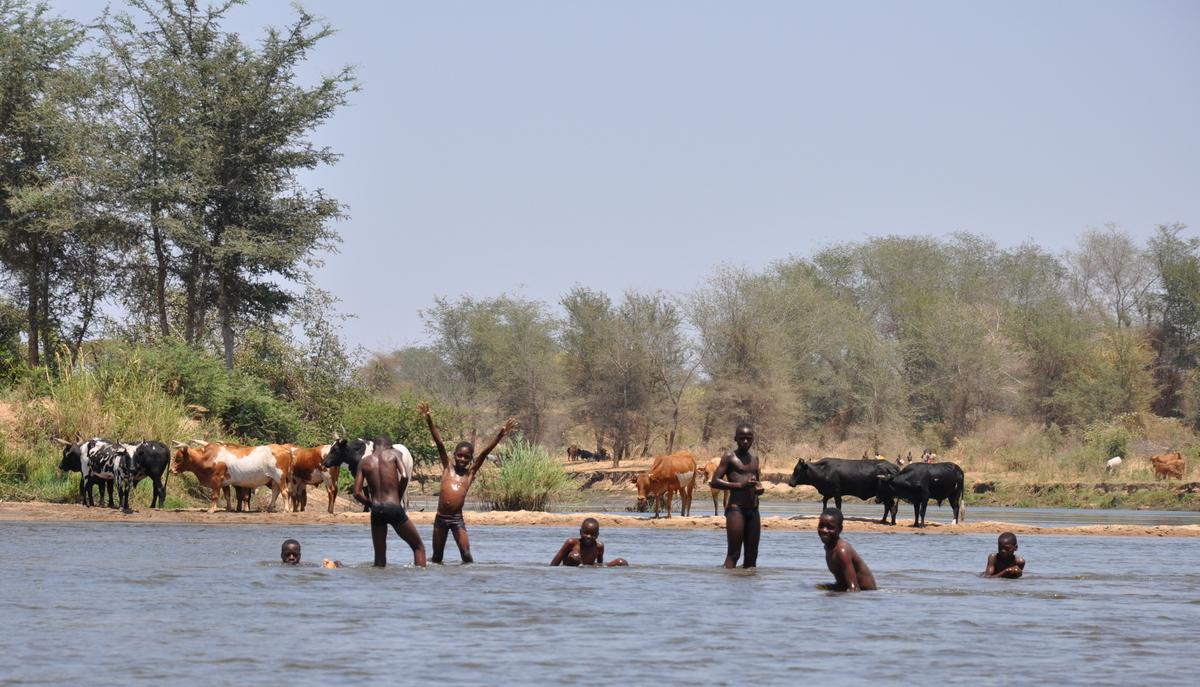 Zwischen Sambia und Simbabwe   mit dem Kanu unterwegs auf dem Sambesi sonne simbabwe safari reisebericht afrika  TUI Berlin Reisebüro Paddeltour Sambesi jubelnde Kinder