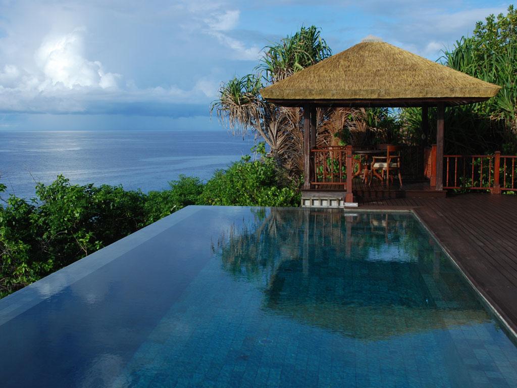Seychellen. Frégate Island Private strand sonne seychellen reisebericht indischer ozean orient honeymoon 2  C.Diemar Seychellen Frégate Island Villa Pool 2