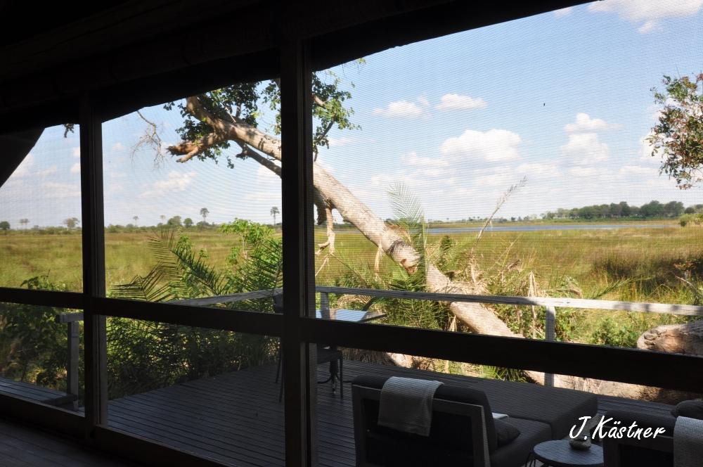 Botswana Treasures. sonne safari botswana afrika  tui berlin Botswana Abu Camp Zelt Ausblick