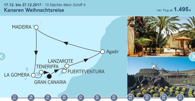Weihnachten bei TUI Cruises tui cruises kreuzfahrt angebote und specials angebot  tui berlin tuicruises kanaren weihnachtsreise 1