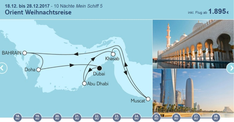 Angebote der Woche: TUI Cruises Mein Schiff Wohlfühlgarantie tui cruises sonne kreuzfahrt angebote und specials angebot  tui berlin tuicruises orient weihnachtsreise