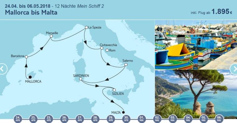 Angebote der Woche: TUI Cruises Mein Schiff Wohlfühlgarantie tui cruises sonne kreuzfahrt angebote und specials angebot  tui berlin tuicruises mallorca bis malta