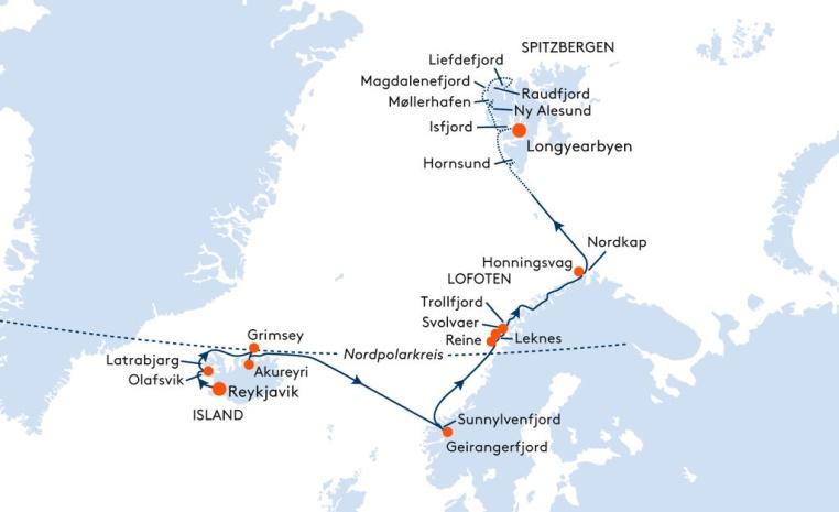 HANSEATIC und BREMEN   Expiditionsreisen mit Hapag Lloyd sonne kreuzfahrt expertentipps angebote und specials  tui berlin island norwegen spitzbergen route