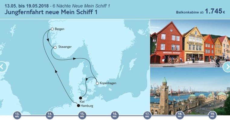 Neues von der Mein Schiff 1 tui cruises sonne norwegen kreuzfahrt deutschland daenemark angebote und specials angebot  tui berlin tuicruises jungfernfahrt mein schiff 1