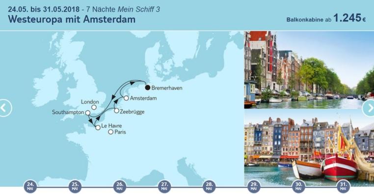 TUICruises   Mein Schiff Angebote der Woche tui cruises sonne kreuzfahrt angebote und specials angebot  tui berlin tuicruises westeuropa mit amsterdam