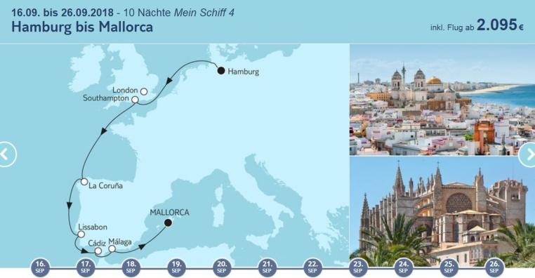 TUICruises   Mein Schiff Angebote der Woche tui cruises sonne kreuzfahrt angebote und specials angebot  tui berlin tuicruises hamburg bis mallorca