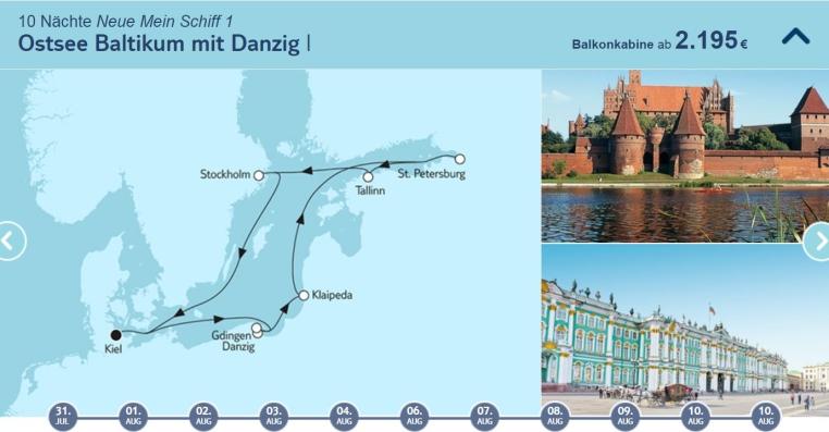 Mein Schiff Highlight Angebote tui cruises sonne kreuzfahrt angebote und specials angebot  tui berlin tuicruises ostsee baltikum mit danzig