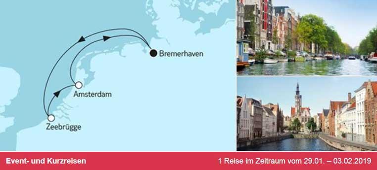 TUI Berlin, Reisen, TUICruises, Mein Schiff, Reiseberatung, Neue Mein Schiff 2, Designer-Schiff, Westeuropa, Amsterdam, Zeebrügge, Angebot, Special, Neu,