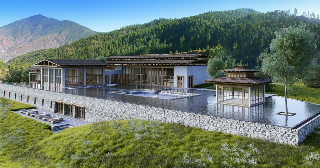 Poolbereich Six Senses Thimphu Lodge, Bhutan - World of TUI Berlin Reisebericht