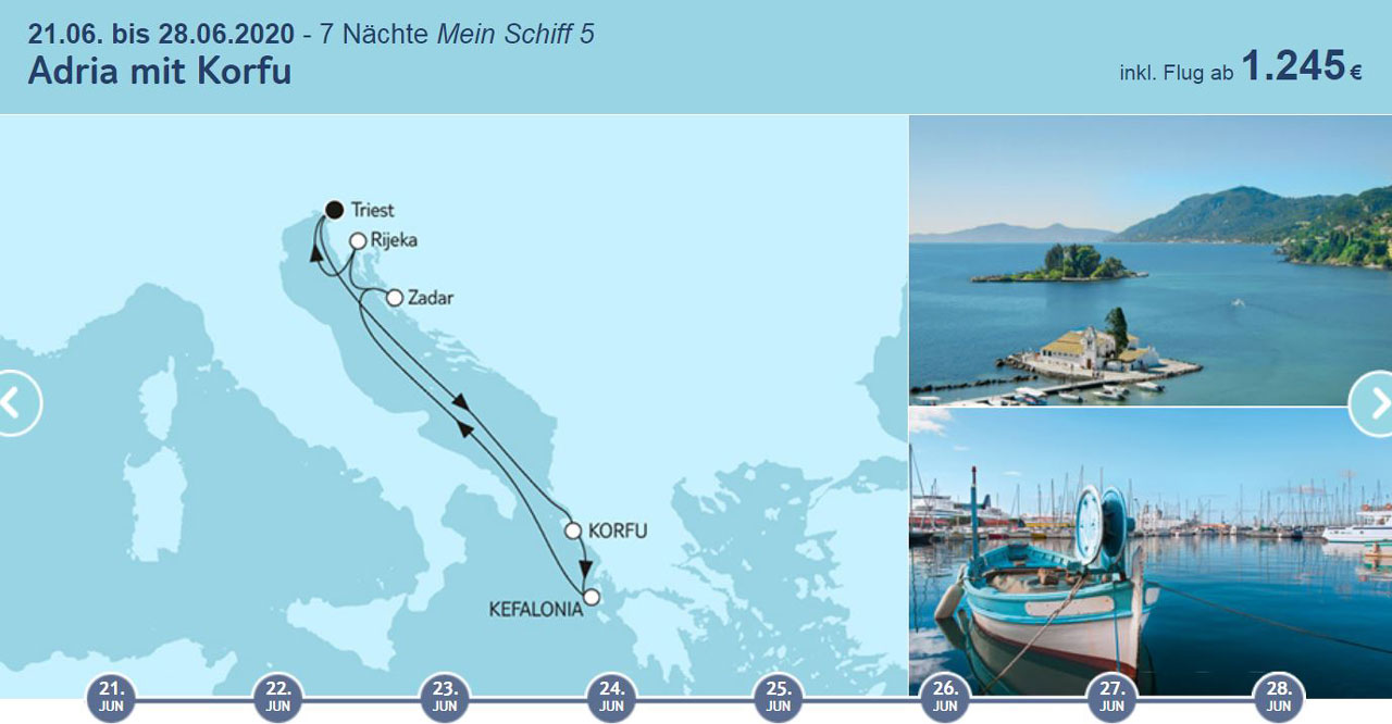 TUI Cruises Angebote der Woche, Adria Kreuzfahrt, Mittelmeer - World of TUI Berlin