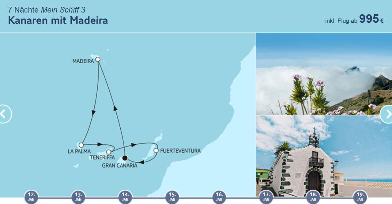 TUI Cruises Angebote der Woche Kanaren Route