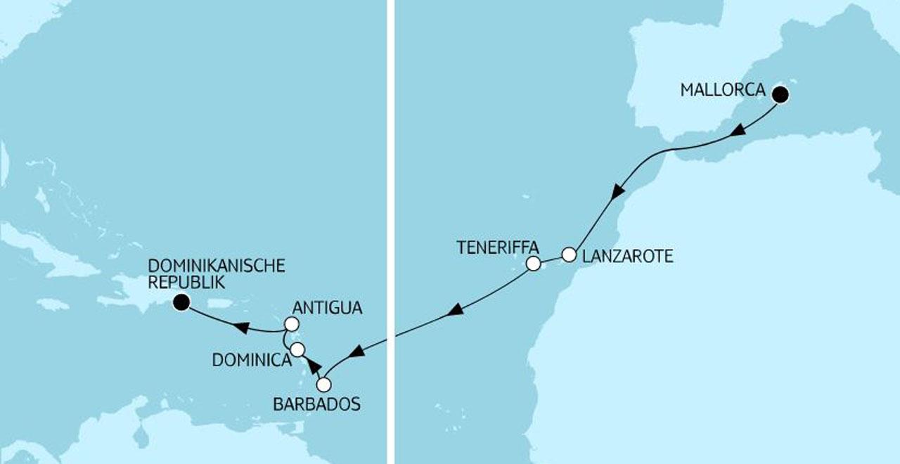TUI Cruises Angebote der Woche Transatlantik Route