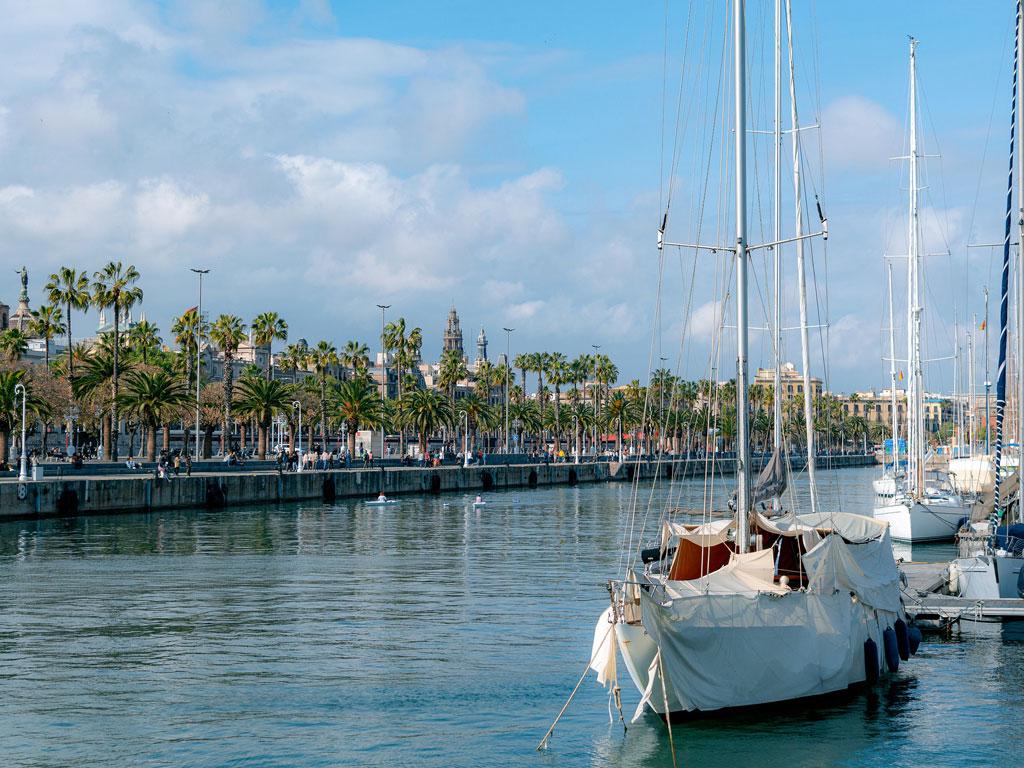 Palmengesäumter Hafen von Barcelona