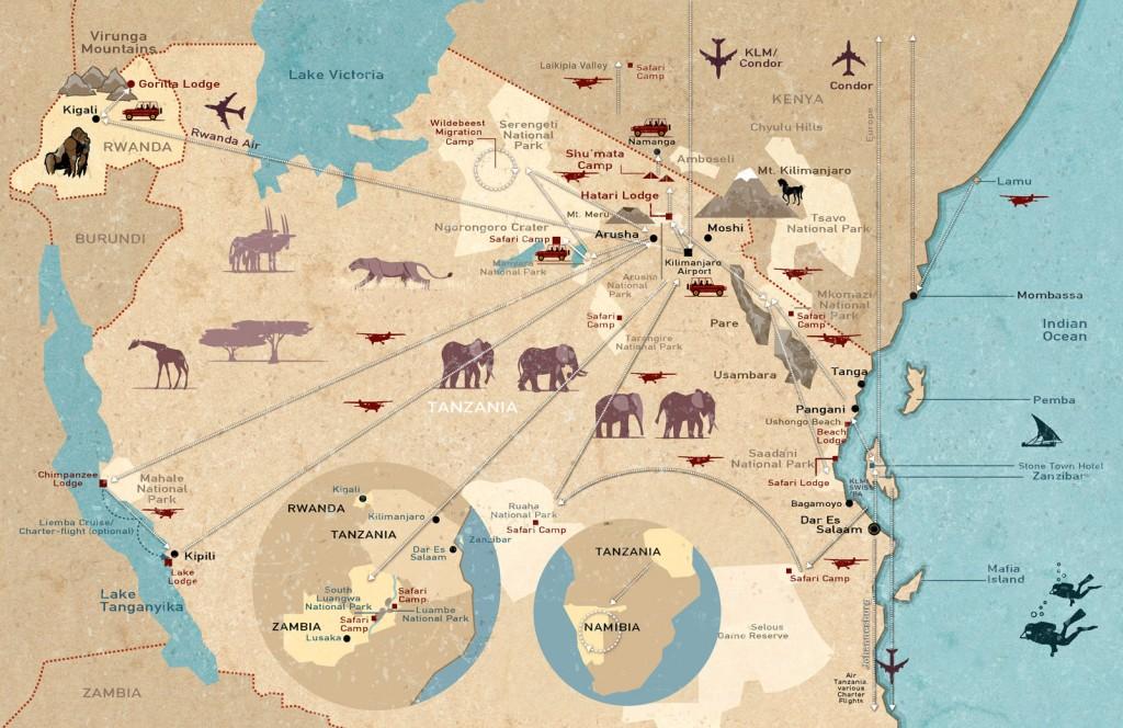 World of TUI persönlich. Tansania erleben! tansania sonne safari afrika  Landkarte 1024x664